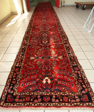 Handmade antique Persian Lilihan runner 2.7' x 23.3' ( 84cm x 712cm) 1910s - 1C452