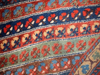 #1B97  Handmade antique Persian Kurdish rug 5.1' x 7.3' ( 155cm x 222cm ) 1860.C