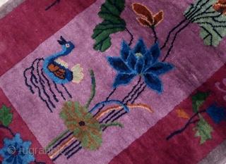 Handmade antique Art Deco Chinese rug 2.7' x 4.4' ( 82cm x 134cm) 1920s - 1B568