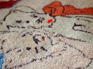Handmade antique American hooked rug 1.8' x 2.8' (55cm x 87cm) 1930s - 1C458