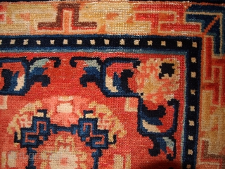 """#1B361 Chinese 'Ningsha"""" rug 2.2' x 2.3' 1880,in original condition: has some age ware."""