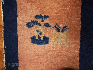 "#1B362 Chinese 'Peking"" rug 1.8' x 1.10' 1900,in original good condition."