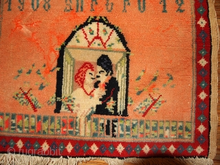 #1B363 antique collectible Armenian rug 1.1' x 1.4' 1908,in original condition: has some age ware.