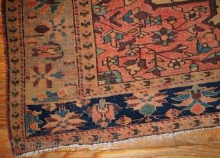 #1B153  Handmade antique Persian Farahan rug 4.3' x 6.7' ( 131cm x 204cm ) 1910.C