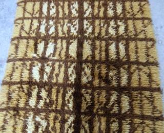 Handmade vintage Swedish Rya rug 4.1' x 6.3' ( 125cm x 192cm) 1950s - 1B598