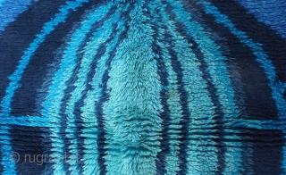 Handmade vintage Swedish Rya rug 3.10' x 5.10' ( 120cm x 181cm ) 1950s - 1B600