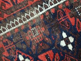 Handmade antique Afghan Baluch rug 3.2' x 6' (100cm x 184cm) 1920s - 1C489