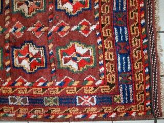 Handmade antique Persian Kurdish rug 3.9' x 7.5' (119cm x 230cm) 1920s - 1C499