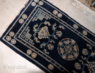 Handmade antique Peking Chinese rug 2.1' x 4.1' ( 64cm x 125cm ) 1900s - 1B617