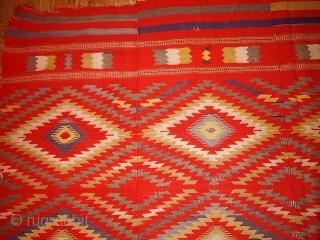 #1B70  Hand made antique Moroccan kilim 5.7' x 9' ( 173cm x 274cm ) C.1920s