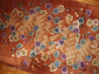 #1B390  Hand made antique Art Deco Chinese rug 2.6' x 4.5' ( 76cm x 137cm ) С.1920s