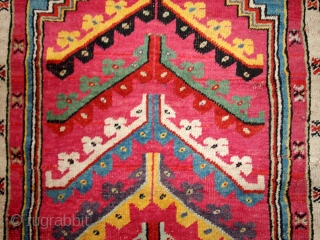 "#1B204 Hand made antique prayer Turkish ""Kersheir"" rug 3.5' x 5' 1880, in original good condition"