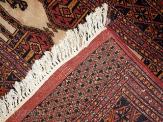 #1C232  Hand made semi-antique Turkoman rug 2.8' x 4' ( 87cm x 123cm ) C.1950s