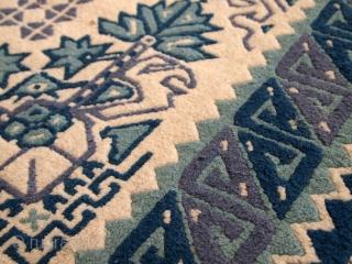 #1C544  Handmade vintage Tunisian rug 4.3' x 6.8' ( 131cm x 208cm ) C.1960s