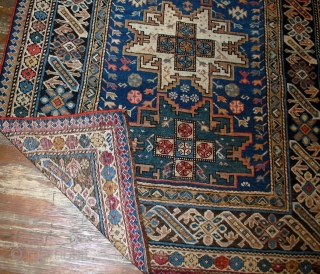 #1B520  Hand made antique Caucasian Chichi rug 3.9' x 6.2' ( 119cm x 189cm ) C.1880s