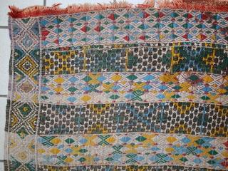 #1C497 Handmade vintage Tunisian flat-weave kilim 2.6' x 6.1' (79cm x 187cm) C.1950s