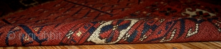 #1B337  Handmade antique collectible Turkoman Kizyl Ayak rug 2.10' x 4.4' ( 89cm x 134cm ) 1880.C