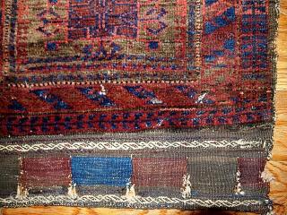 #1B338  Handmade antique collectible Afghan Baluch bag face 1.11' x 1.11' ( 59cm x 59cm ) 1880.C