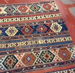 #1F06 Handmade Caucasian Shirvan kilim 4.9' x 7.6' ( 149cm x 231cm) c.1860