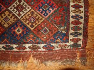 #1B341  Hand made antique collectible Persian Kurdish bag face 1.10' x 2.3' ( 58cm x 70cm ) 1880.C