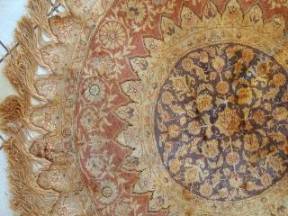 #1C298  Handmade antique silk Turkish Kayseri rug 4.2' ( 130cm ) 1900.C