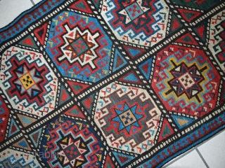 #1B501  Handmade antique Caucasian Kazak runner 2.2' x 7.6' ( 69cm x 234cm ) 1920.C