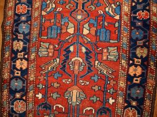 #1B429  Hand made antique Persian Lilihan runner 3.3' X 10.2' ( 100cm X 310cm ) C.1920