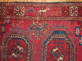 #1B173  Hand made antique collectible Turkoman Saryk rug 4' X 5.2' ( 122cm X 158cm ) C.1850
