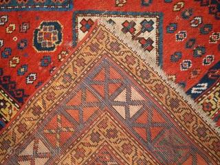 #1C259  Hand made antique Caucasian Kazak rug 4.1' X 6.9' ( 127cm X 211cm ) C.1860
