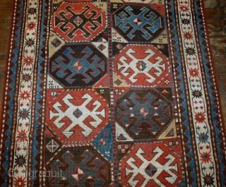 #1B521  Hand made antique Caucasian Kazak Mohan rug 3.8' x 8.2' ( 116cm x 250cm ) 1880.C