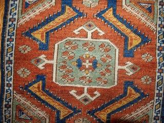 #1B347  Handmade antique collectible Turkish Yastik rug 1.8' x 2' ( 54cm x 60cm ) 1870.C