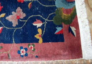 #1B529  Hand made antique Art Deco Chinese rug 2' X 3.10' ( 61cm X 120cm ) C.1920