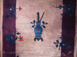 #1B86  Hand made antique Art Deco Chinese rug 2.6' X 4.9' ( 79cm X 149cm ) C.1920