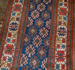 #1B522  handmade antique Caucasian Gendje rug 3.2' x 8' ( 97cm x 244cm ) 1880.C
