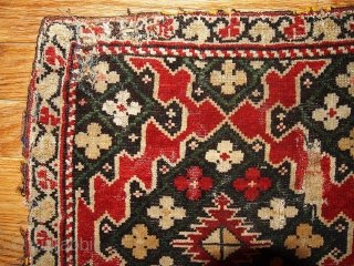 #1B311  Handmade antique collectible Armenian Karabakh pair of rugs 1.4' x 1.5' ( 42cm x 45cm ) 1880.C