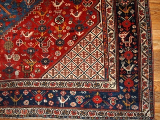 #1B189  Hand made antique collectible Persian Khamseh rug 6.4' X 9.9' ( 195cm X 301cm) C.1870