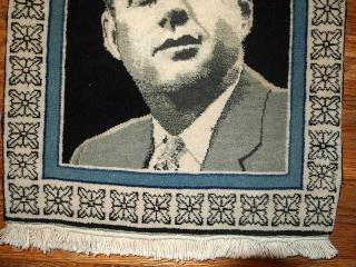#1B365  Handmade vintage collectible Persian Tabriz Kennedy portrait rug 1.4' x 1.8' ( 46cm x 54cm ) 1980.C