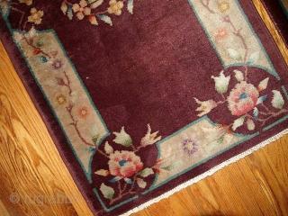 #1B368  Handmade antique Art Deco Chinese pair of rugs 2' x 3.10' ( 61cm x 119cm ) 1920.C