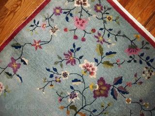 1B385  Handmade antique Art Deco Chinese rug 4' x 7' ( 122cm x 213cm ) 1920.C