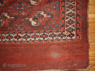 #1B320  Hand made antique collectible Turkoman Yomud chuval bagface 2.11' x 4.3' ( 94cm x 131cm) C.1880