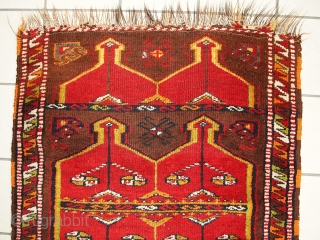 #1C283  Hand made antique collectible Turkish Yastik rug 2.5' x 6.2' ( 76cm x 190cm ) C.1920