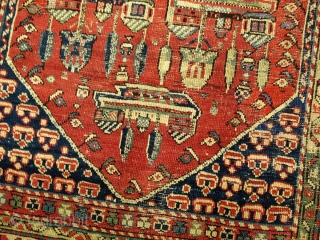 #1B31  Hand made antique Turkish rug 4.1' x 6.2' ( 125cm x 189cm ) 1890.C