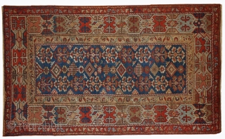 #1B417  Hand made antique Persian Kurdish rug 3' x 5.9' ( 91cm x 179cm ) 1870.C