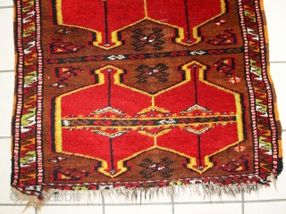 #1C283  Hand made antique collectible Turkish Yastik rug 2.5' x 6.2' ( 76cm x 190cm ) 1920.C