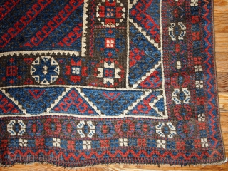 #1B198  Hand made antique Turkish collectible Bergama rug 5.9' x 6.10' ( 180cm x 213cm ) C.1880