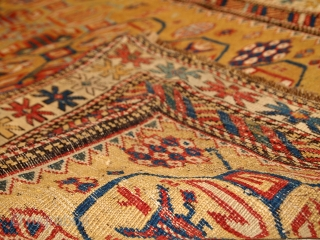 #1B446  Hand made antique Caucasian Kuba rug 3' x 4.6' ( 93cm x 142cm ) 1870