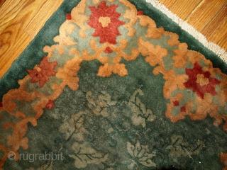 #1B398  Handmade antique Art Deco Chinese rug 3.11' x 6' ( 121cm x 183cm ) 1920.C
