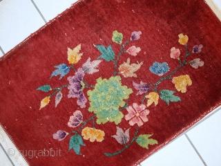 #1C331  Handmade antique Art Deco Chinese rug 2' x 2,9' ( 61cm x 91cm) 1920.C