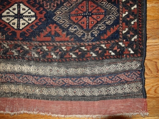 #1B326  Hand made antique collectible Afghan Baluch rug 2.7' x 2.10' ( 82cm x 89cm) C.1880