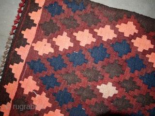 #1B450  Hand made vintage Afghan kilim 1.9' x 2' ( 54cm x 69cm ) C.1960